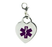 Medical Alert Heart Charm Purple