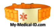 Orange Rubber Medical ID Bracelet