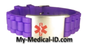 Purple Rubber Medical ID Bracelet