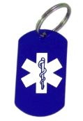 Medical ID Blue Laser Key Ring