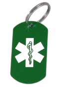 Medical ID Green Laser Key Ring