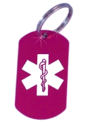 Medical ID Hot Pink Laser Key Ring