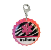 Asthma Medical ID Charm Pink Zebra