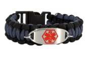 Black and Gray Paracord Medical ID Bracelet