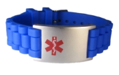 Blue Rubber Medical ID Bracelet