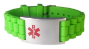 Green Rubber Medical ID Bracelet