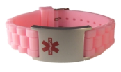 Pink Rubber Medical ID Bracelet