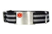 Adjustable Grey Nato Medical ID Bracelet