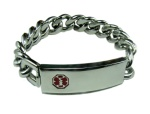 Silver Chain Medical Bracelet for Men