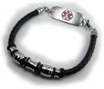 Rayas Braided Leather Medical Alert ID Bracelet
