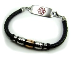 Stellar Braided Leather Medical Bracelet for Men