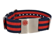 Adjustable Red-Navy Nato Medical ID Bracelet
