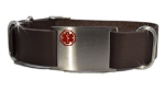 Adjustable Brown Leather Nato Medical Bracelet
