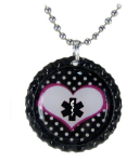 Black Polka Dot Medical ID Necklace