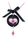 Black Polka Dot Heart Medical ID Necklace