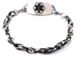 Silver and Black Oval Link Medical Bracelet