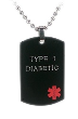 Black Diabetic TYPE 1 Medical Necklace