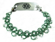 Green Chainmail Medical Bracelet
