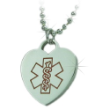 Silver EMS Heart Medical Necklace