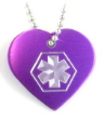 Medical Alert ID Necklace Heart-F