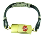 Gold USB Medical ID Bracelet