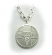 Sterling Silver Caduceus Necklace Round