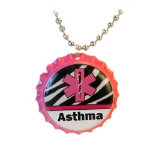 Asthma Medical ID Necklace Zebra