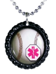 Baseball Medical Necklace In Pink