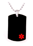 Black Dog Tag Medical Necklace