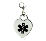 Medical Alert Heart Charm Black
