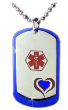 Heart Dog Tags in Blue