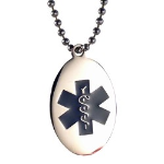 EMS Blue Oval Medical ID Necklace