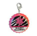 Dairy Allergy Medical ID Charm Pink Zebra
