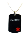 Black Diabetic Medical Necklace