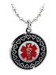 EMS Red, Black, Chrome, Medical ID Necklace