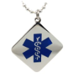 EMS Blue Square Medical ID Necklace