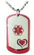 Heart Dog Tags in Red