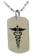 Caduceus Medical ID with Ball Chain