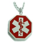 EMS Star Red Medical Alert ID Necklace