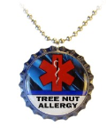 Tree Nut Allergy Blue Streak Necklace