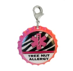 Tree Nut Medical ID Charm Pink Zebra
