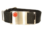 Adjustable Black Nato Medical ID Bracelet