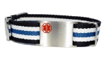 Adjustable Bl-Wh-Bk Nato Medical ID Bracelet