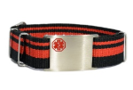 Adjustable Red-Black Nato Medical ID Bracelet