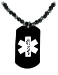 Black-EMS Medical Necklace