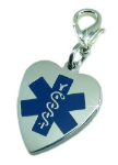 EMS Medical ID Heart Charm