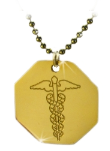 Gold Caduceus Octagon With Ball Chain