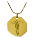 Gold Caduceus Octagon With Snake Chain