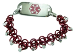 Red Chainmail Medical Bracelet
