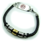 Moda Braided Leather Medical Alert ID Bracelet